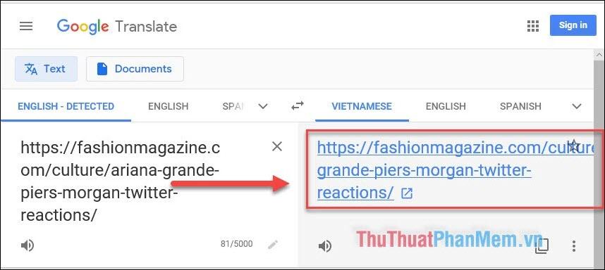 Nhấp vào link màu xanh bên khung dịch Tiếng Việt