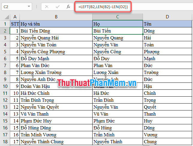 Tách Họ trong Excel