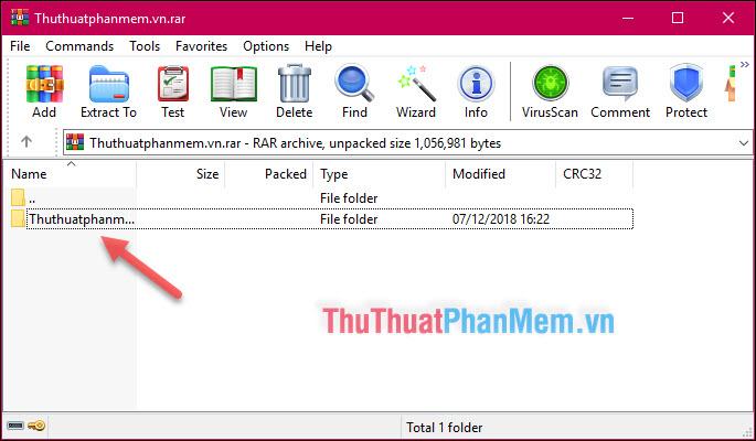 Thư mục được hiển thị sau khi mở file nén