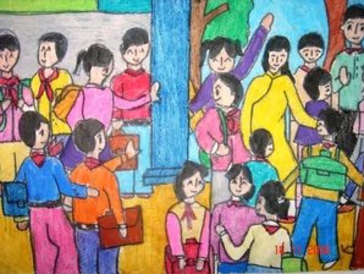 Tổng hợp những hình ảnh tranh vẽ chủ đề học tập ngôi trường của em