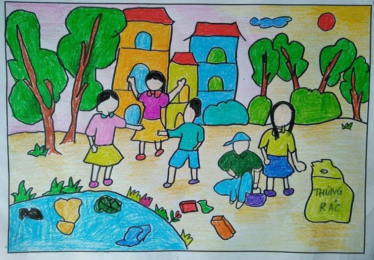 Tranh vẽ đề tài học tập hoạt động ngoài trời