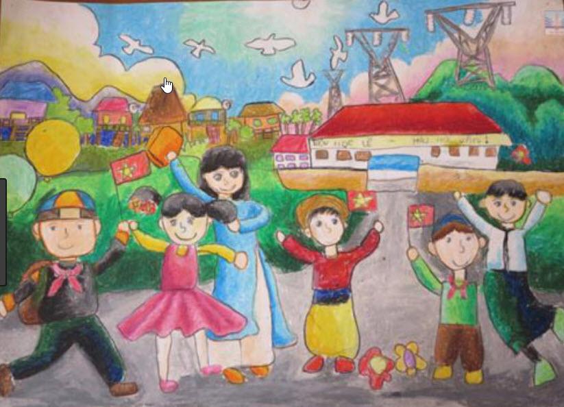 Tranh vẽ đề tài học tập khao khát hòa bình