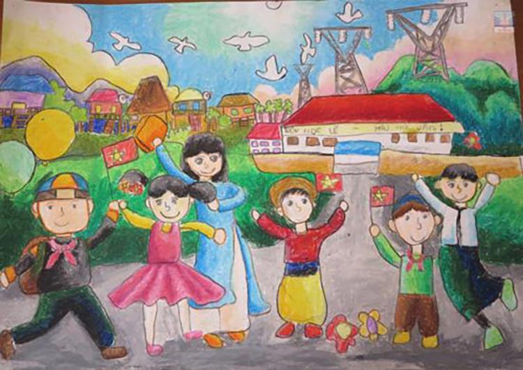 Tranh vẽ đề tài học tập khát khao hòa bình