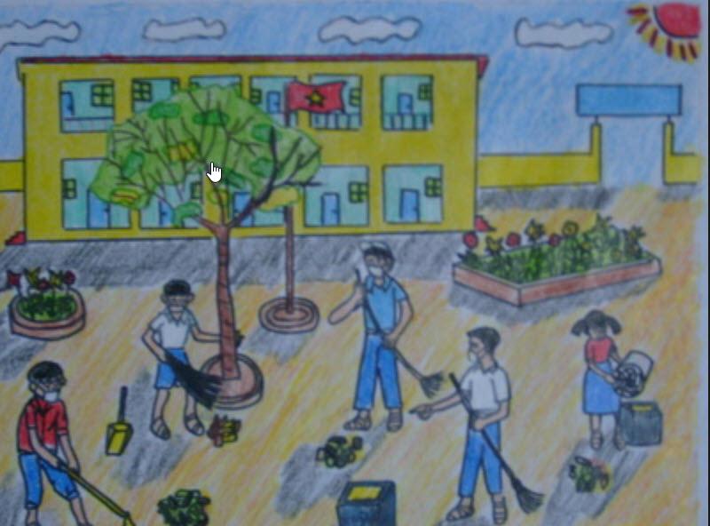 Tranh vẽ đề tài học tập lao động vệ sinh sạch sẽ trong trường học