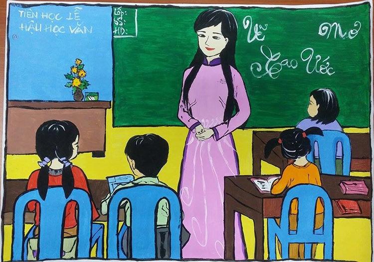 Tranh vẽ đề tài học tập lớp 7