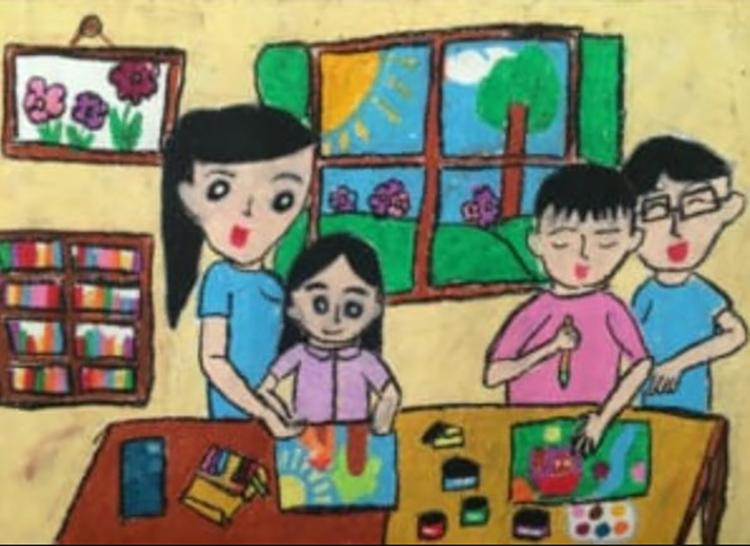 Tranh vẽ đề tài học tập ở nhà
