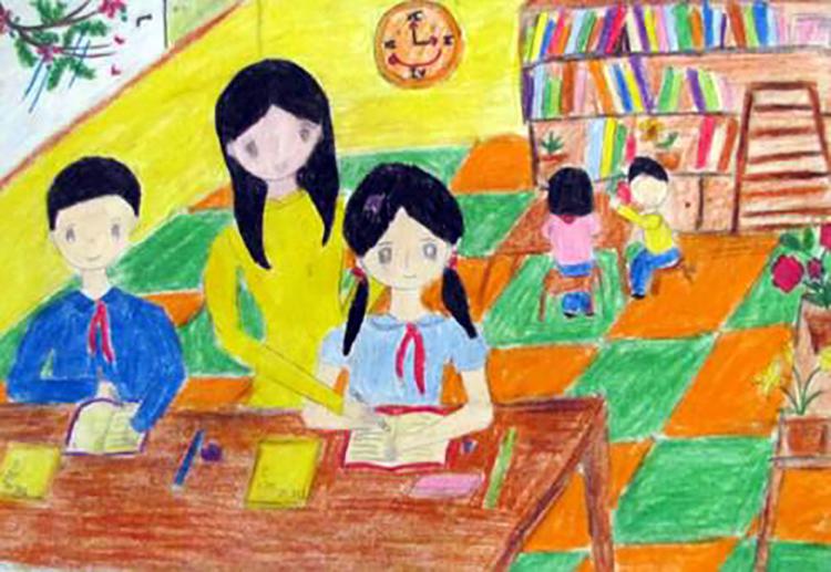 Tranh vẽ về đề tài học tập đẹp