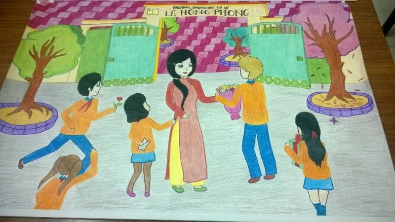 Vẽ tranh chủ đề học tập chào mừng ngày 20-11