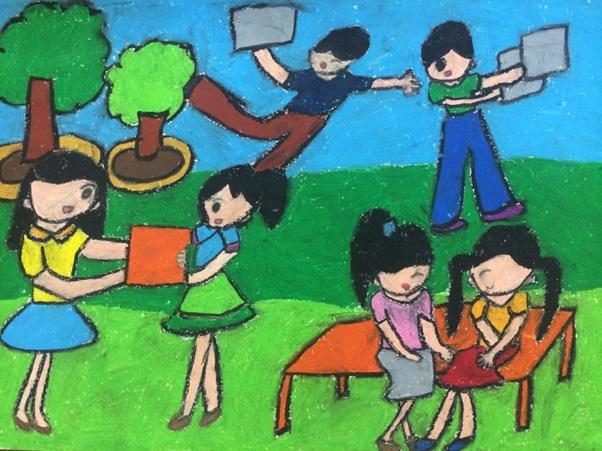 Vẽ tranh đề tài học tập đơn giản mà đẹp