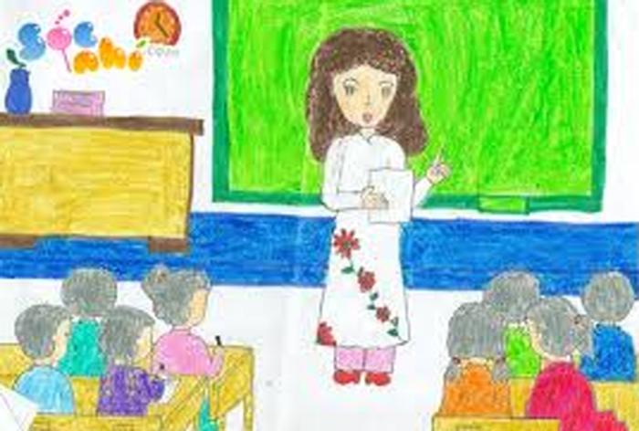 Vẽ tranh đề tài học tập đơn giản