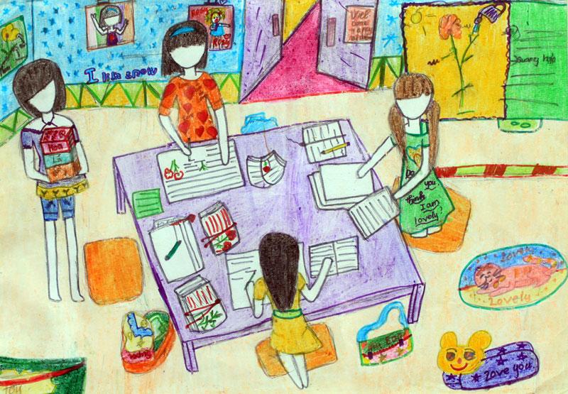 Vẽ tranh đề tài học tập học nhóm