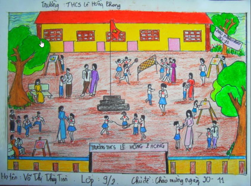 Vẽ tranh đề tài học tập lớp 9