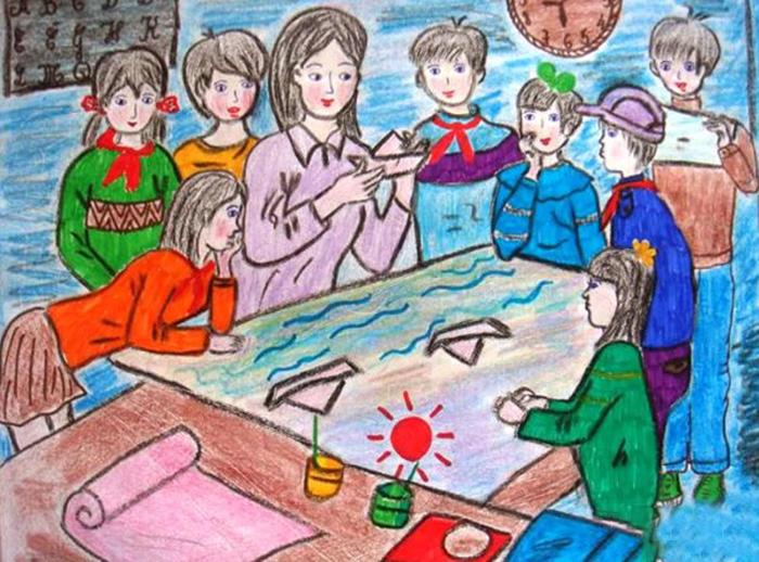 vẽ tranh đề tài học tập mĩ thuật lớp 6