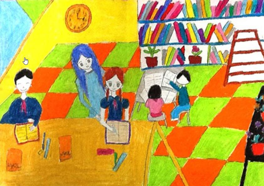 Vẽ tranh đề tài học tập Mỹ thuật lớp 6
