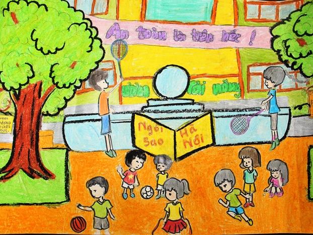 Vẽ tranh đề tài học tập ngôi trường an toàn