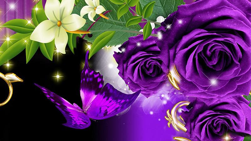 Hình ảnh giỏ hoa hồng tím