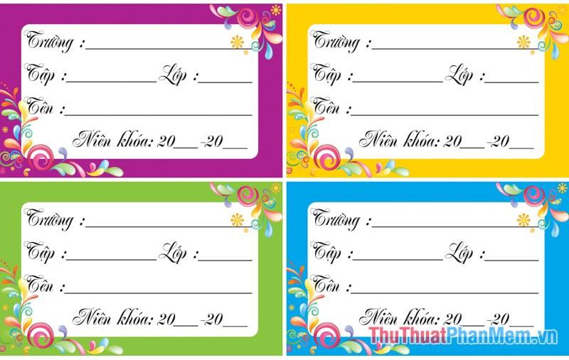 Các mẫu nhãn vở đẹp trên Word cho học sinh và giáo viên - 23