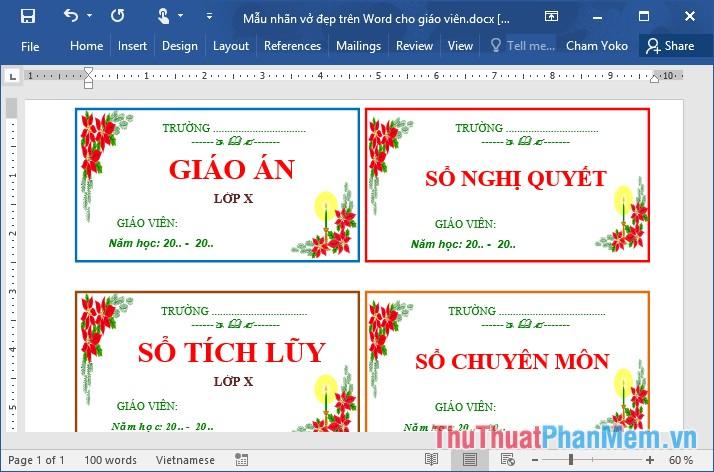 Các mẫu nhãn vở đẹp trên Word cho học sinh và giáo viên - 2