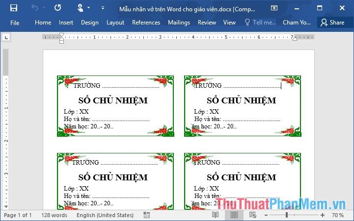 Các mẫu nhãn vở đẹp trên Word cho học sinh và giáo viên - 3