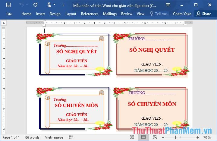 Các mẫu nhãn vở đẹp trên Word cho học sinh và giáo viên - 5