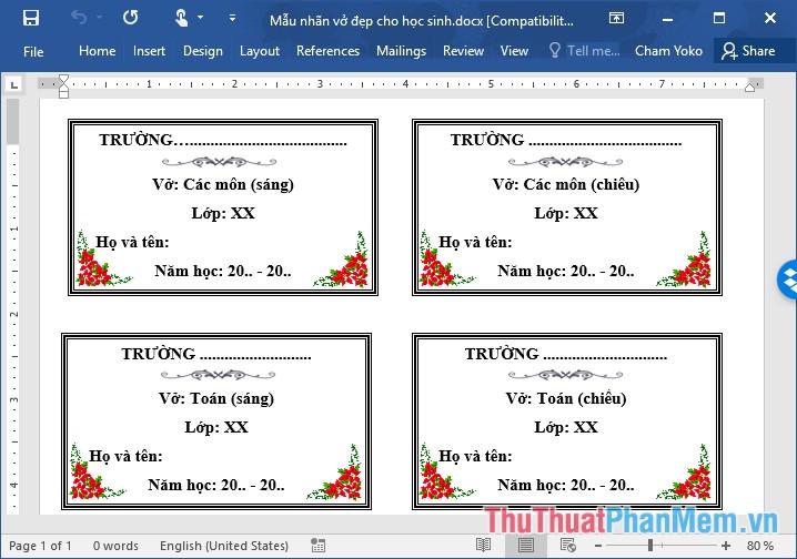 Các mẫu nhãn vở đẹp trên Word cho học sinh và giáo viên - 6