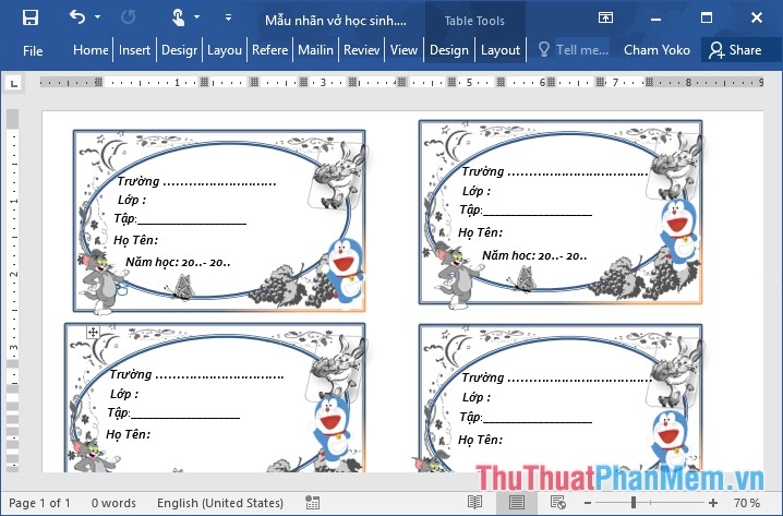 Các mẫu nhãn vở đẹp trên Word cho học sinh và giáo viên - 7