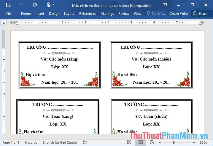 Các mẫu nhãn vở đẹp trên Word cho học sinh và giáo viên - 9