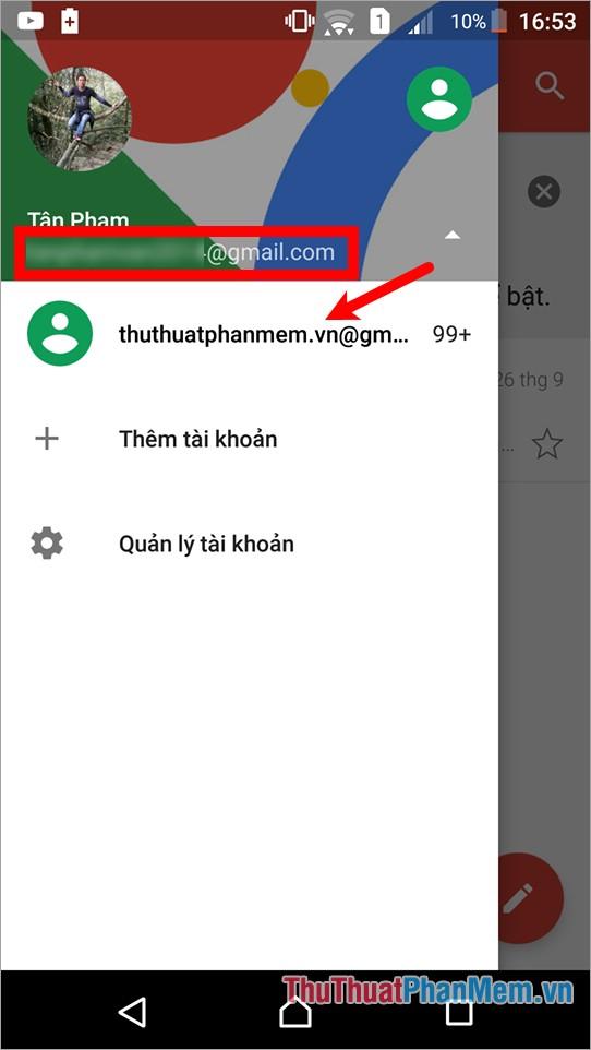 Chọn vào tên người dùng, sau đó chọn tài khoản muốn sử dụng
