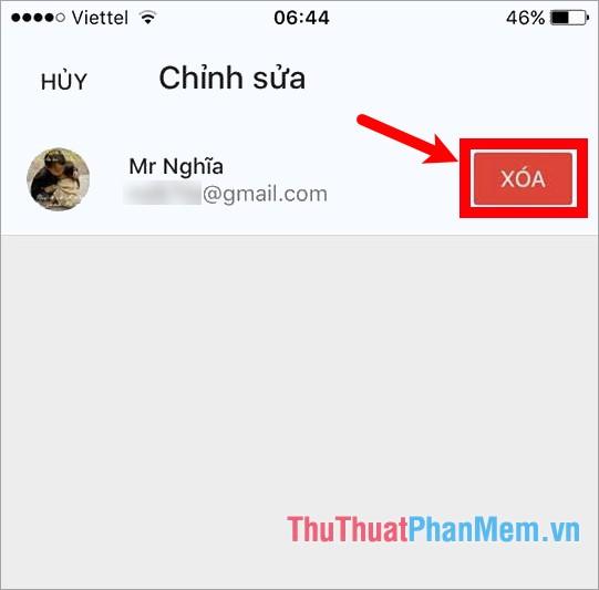 Chọn Xóa để đăng xuất tài khoản Gmail