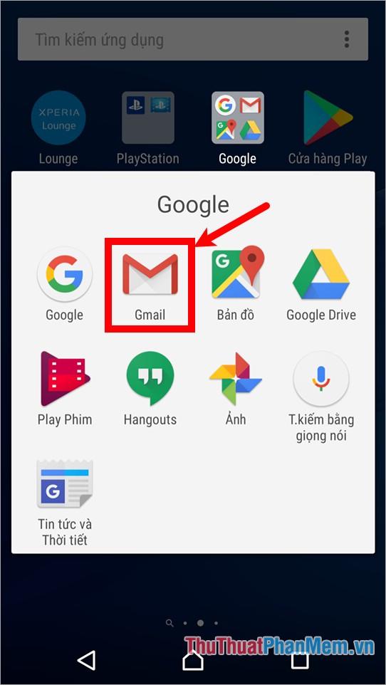 Mở ứng dụng Gmail trên điện thoại