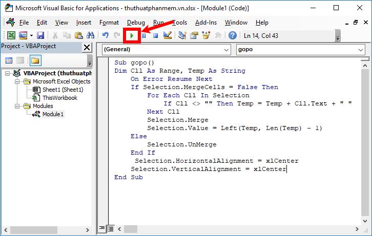 Sao chép đoạn code vào trong phần Sub, sau đó nhấn biểu tượng Run