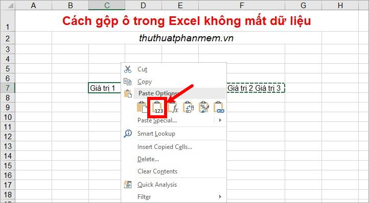 Sao chép dữ liệu trong ô sử dụng hàm và dán dữ liệu vào ô đầu tiên trong các ô cần gộp