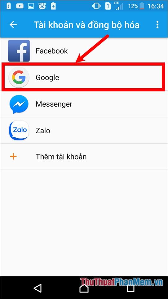 Tiếp tục chọn Google