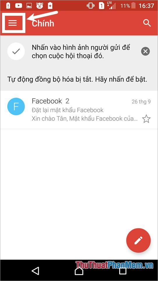 Trên giao diện gmail chọn biểu tượng Menu