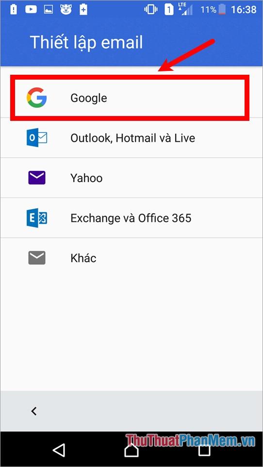 Trong phần thiết lập gmail chọn Google