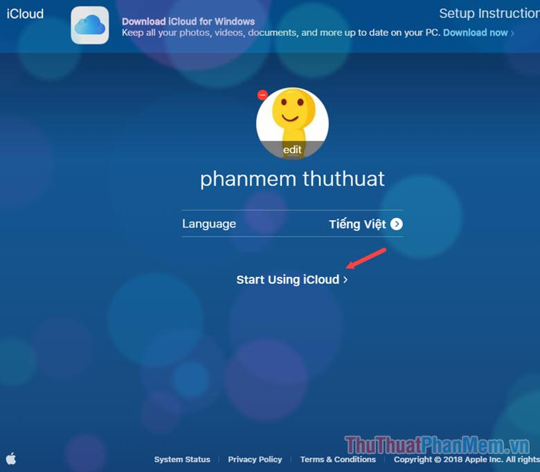 Chọn ảnh đại diện cho tài khoản Icloud, chọn ngôn ngữ hiển thị ở phần Language