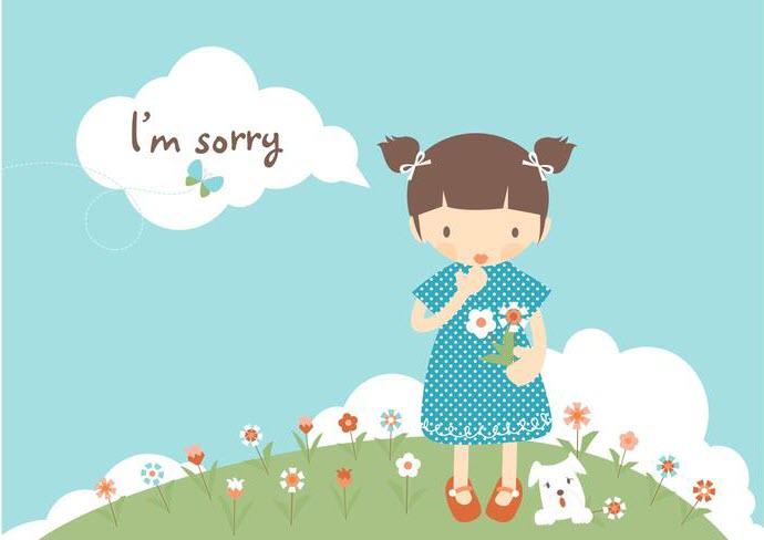 Hình ảnh cô gái xin lỗi
