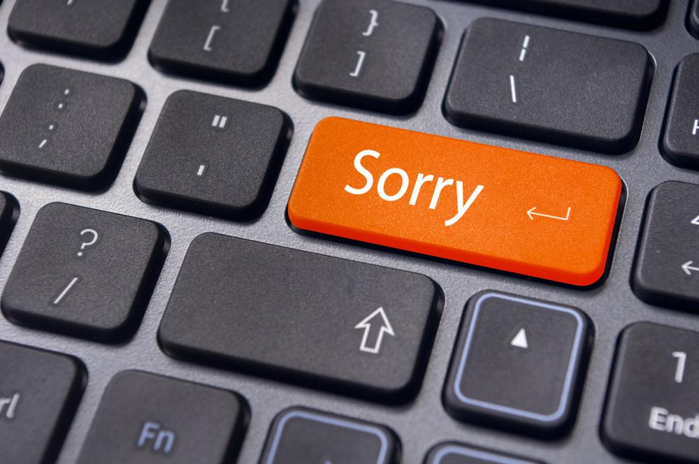 Hình ảnh nút xin lỗi trên bàn phím
