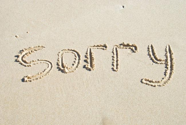 Hình ảnh xin lỗi trên cát
