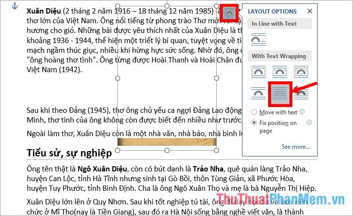 Chọn hình ảnh - biểu tượng Layout - Behind Text