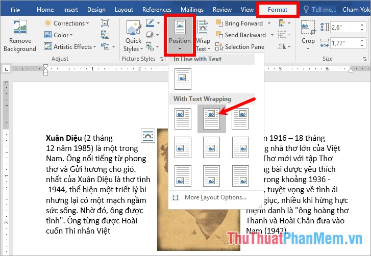 Chọn thẻ Format - Position - chọn vị trí trên trang