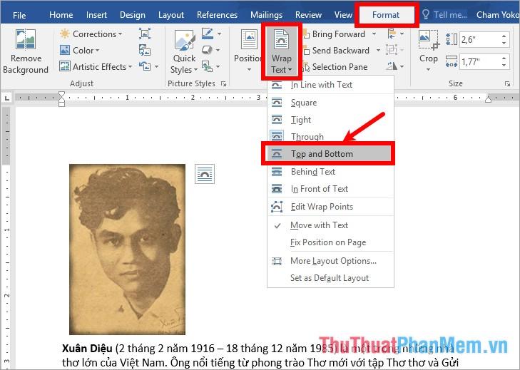 Chọn thẻ Format - Wrap text - chọn tùy chọn phù hợp