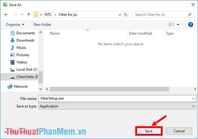 Chọn vị trí lưu file cài đặt Viber và chọn Save