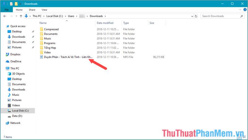 File nhạc mp3 hiện ra trong thư mục sau khi bấm Hiển thị trong thư mục