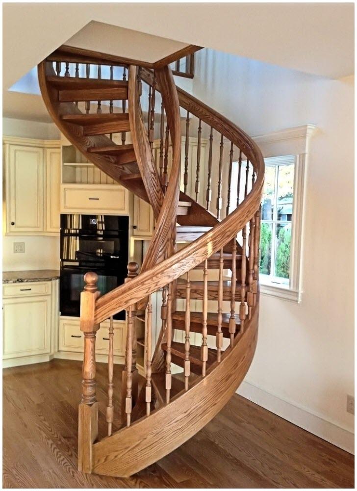 Mẫu cầu thang đẹp bằng gỗ