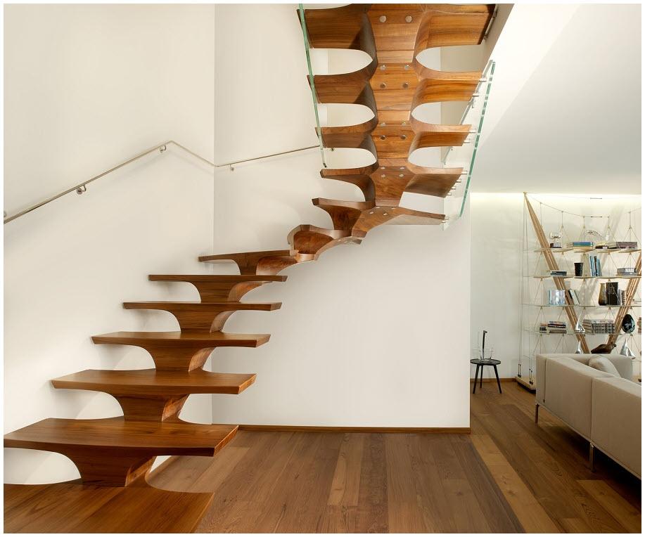 Mẫu cầu thang gỗ đẹp không tay vịn