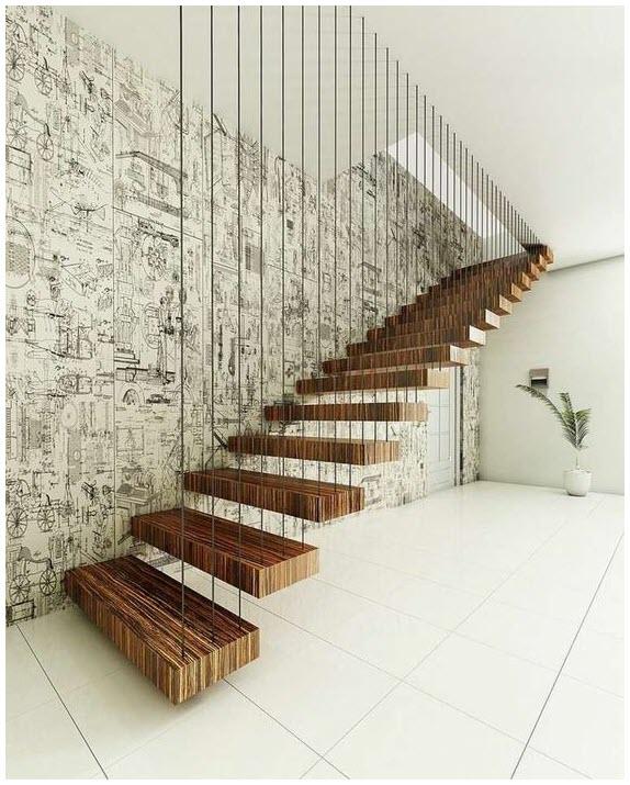 Mẫu cầu thang gỗ độc đáo