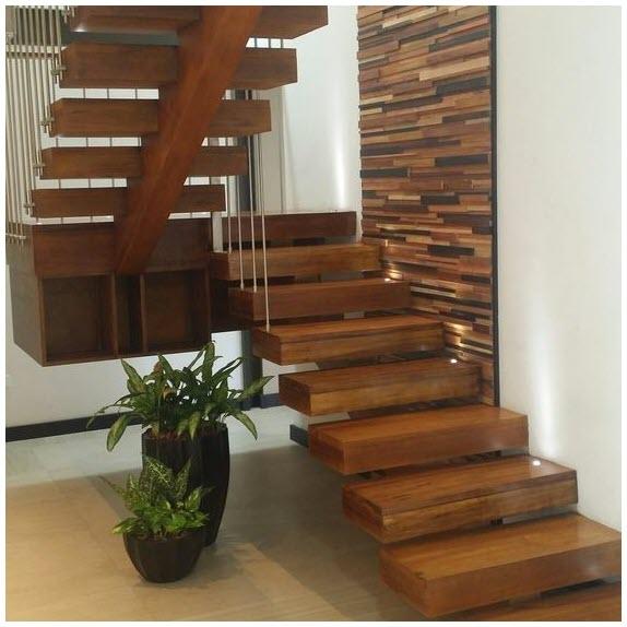 Mẫu cầu thang gỗ gọn, đẹp