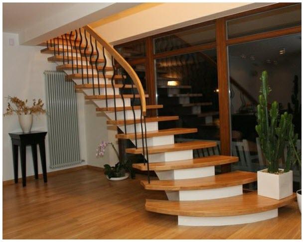 Mẫu cầu thang gỗ hiện đại
