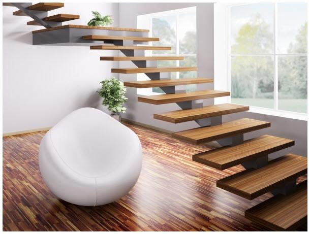 Mẫu cầu thang gỗ không tay vịn đẹp